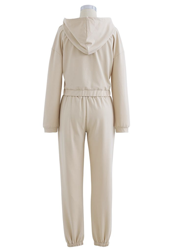 Hooded Zipper Sweatshirt and Drawstring Joggers Set in Cream