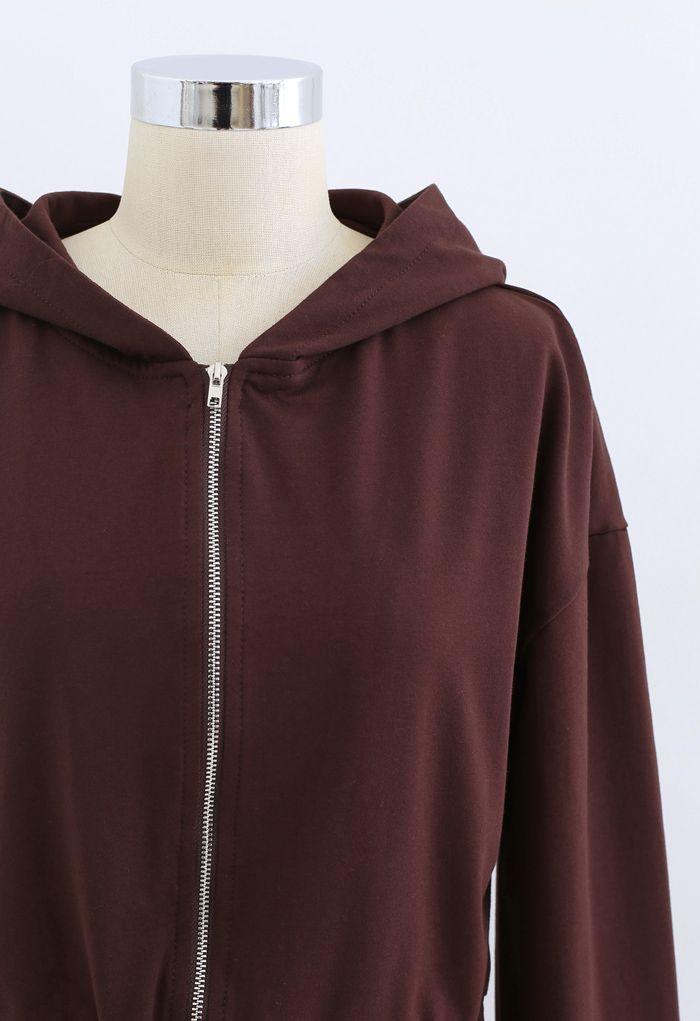 Hooded Zipper Sweatshirt and Drawstring Joggers Set in Brown