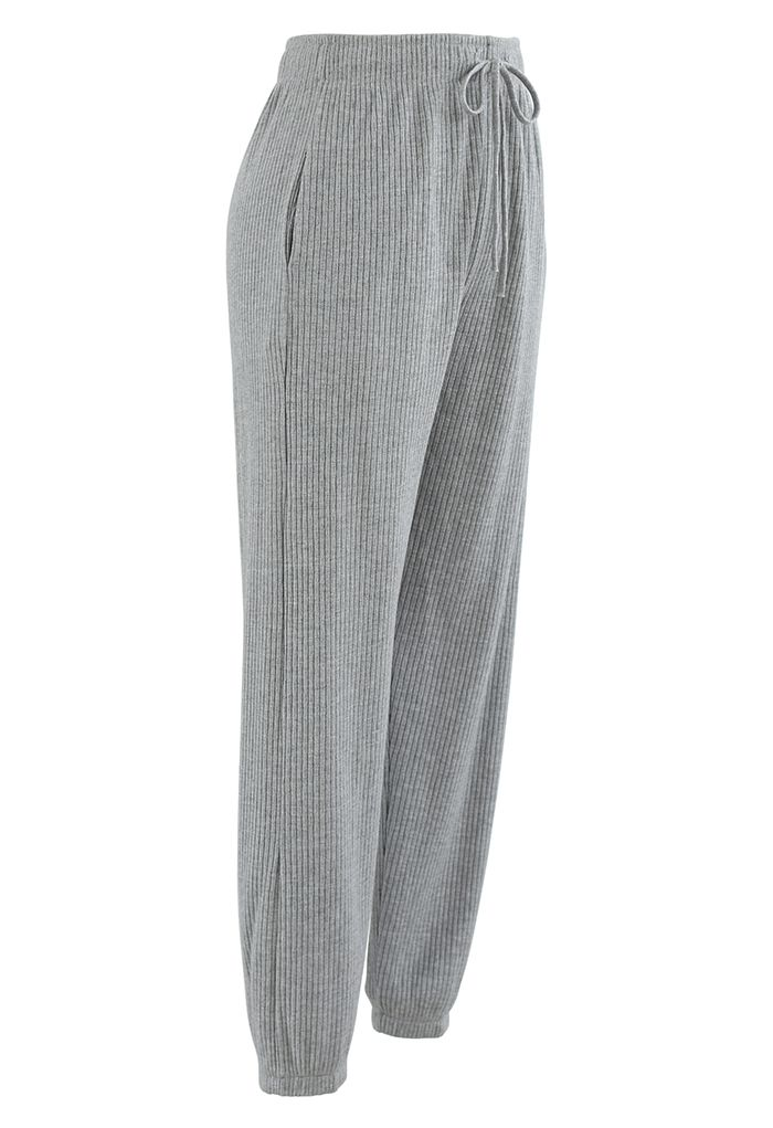 Knit Tapered Joggers in Grey