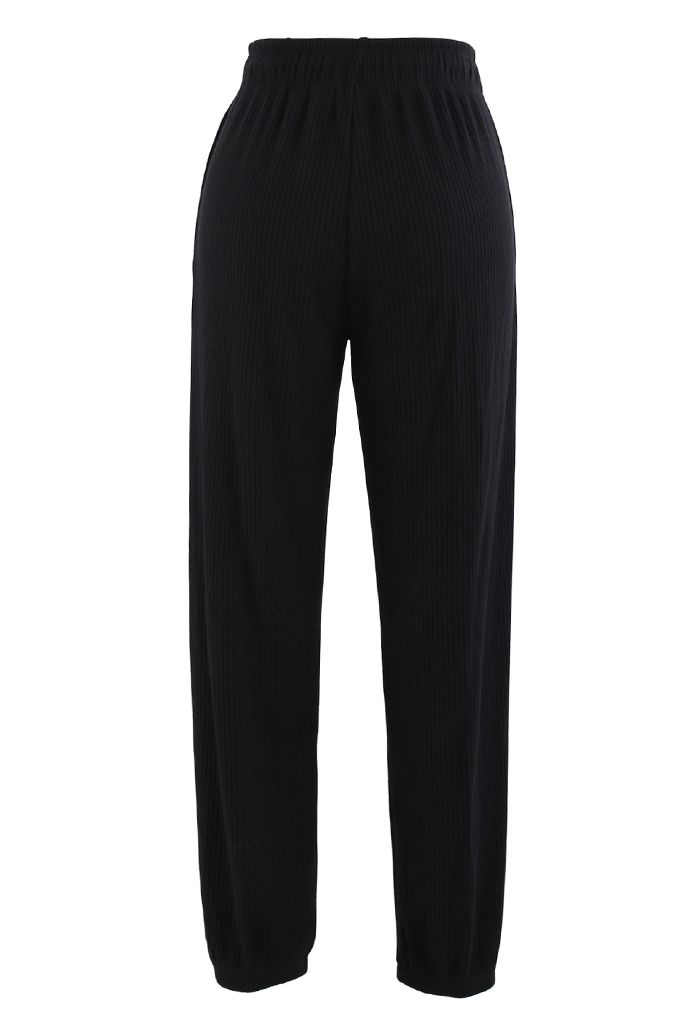 Knit Tapered Joggers in Black