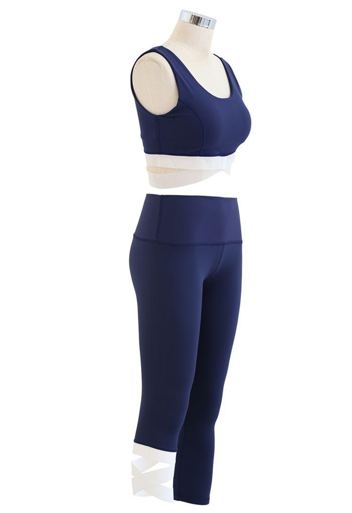 Contrast Band Sports Bra and Asymmetric Leggings Set