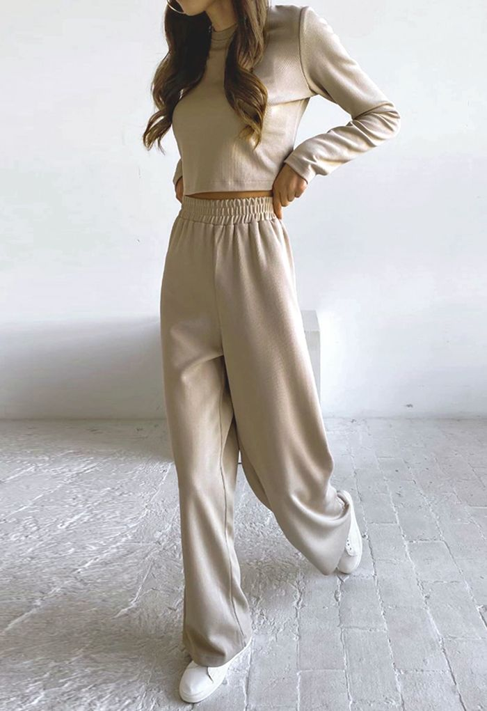 Ribbed Long Sleeves Knit Top and Wide-Leg Pants Set