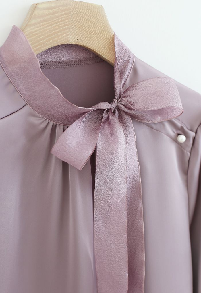 Satin Bowknot Neck Long Sleeves Top in Purple