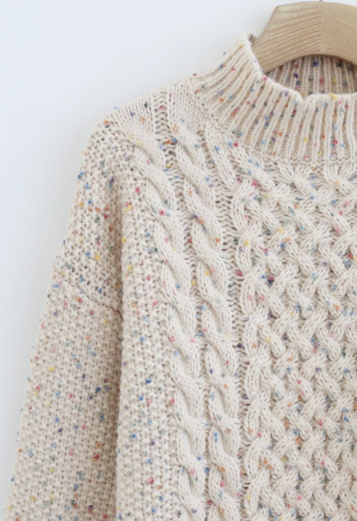 Colorful Dots High Neck Chunky Knit Sweater