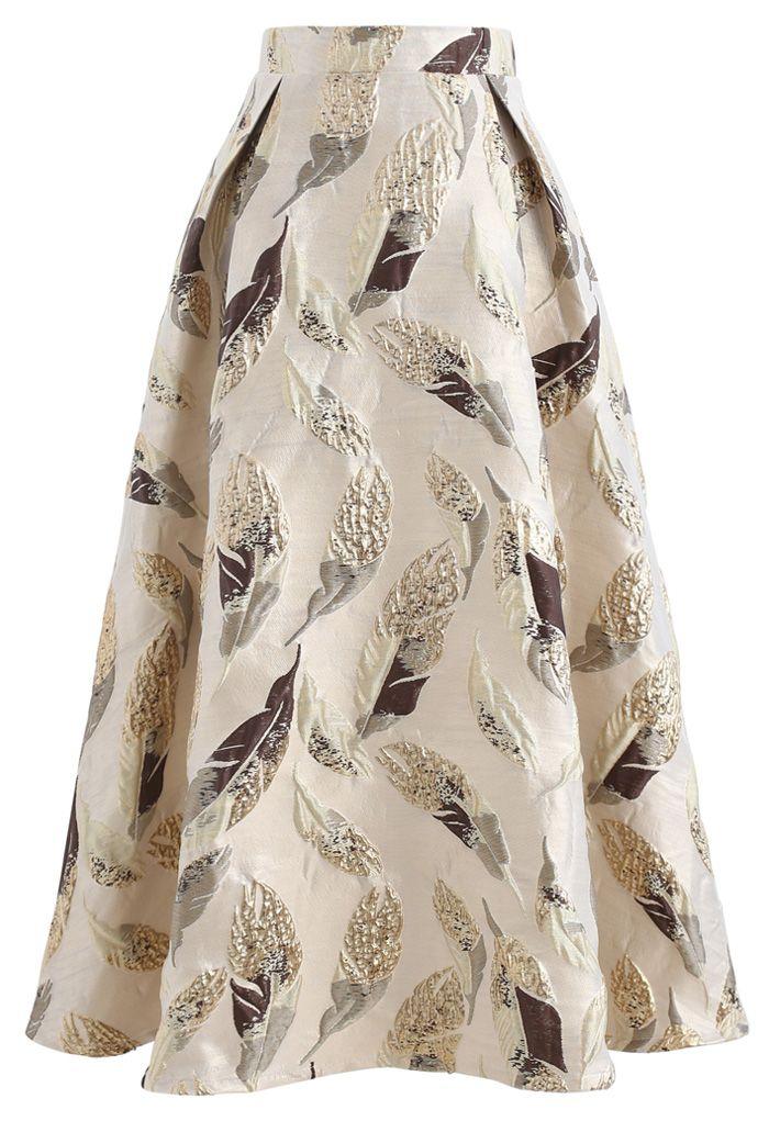 Golden Leaves Jacquard Midi Skirt