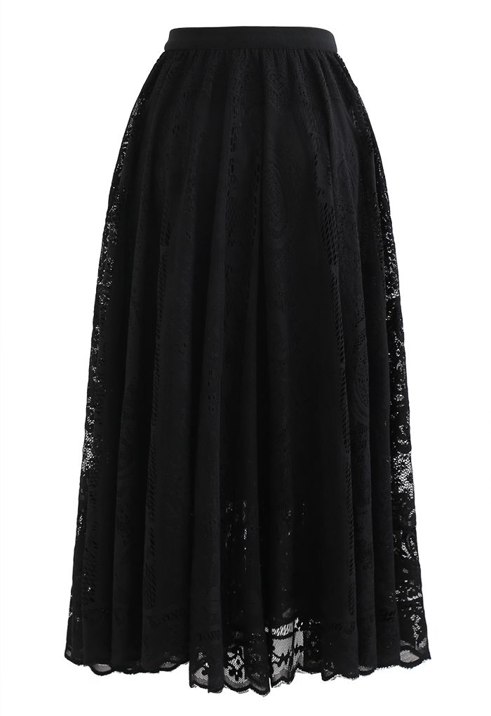 Divine Floral Lace Midi Skirt in Black