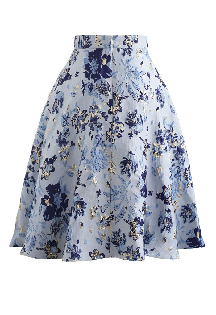 Blue Floral Embossed Jacquard Midi Skirt