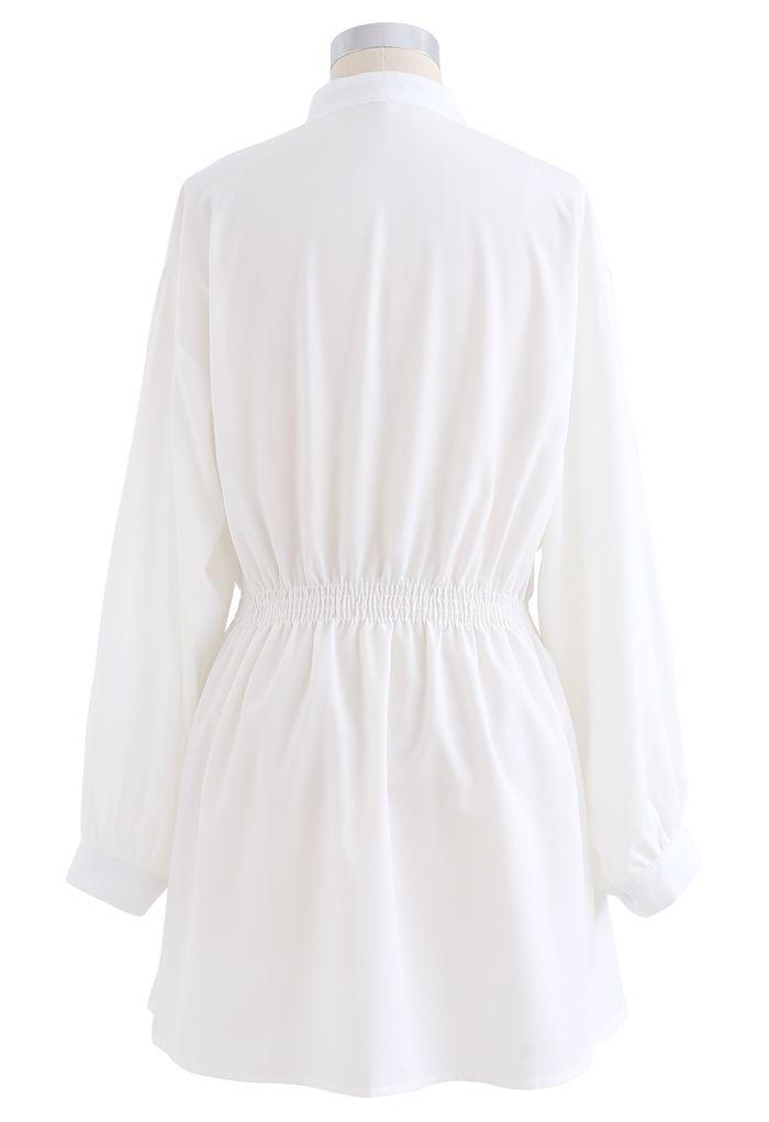 Asymmetric Shirred Button Down Shirt Dress in White
