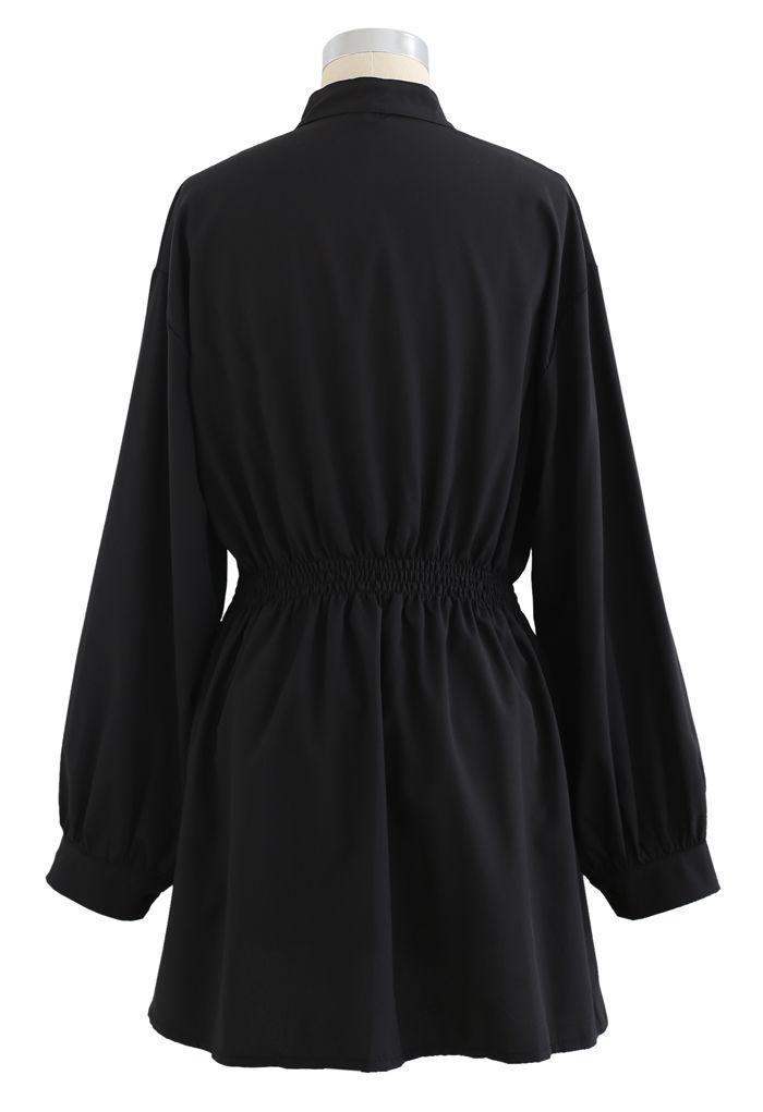 Asymmetric Shirred Button Down Shirt Dress in Black