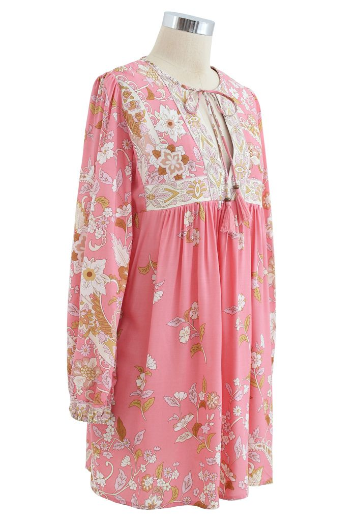 Long-Sleeve Floral Tassel Dolly Tunic in Pink
