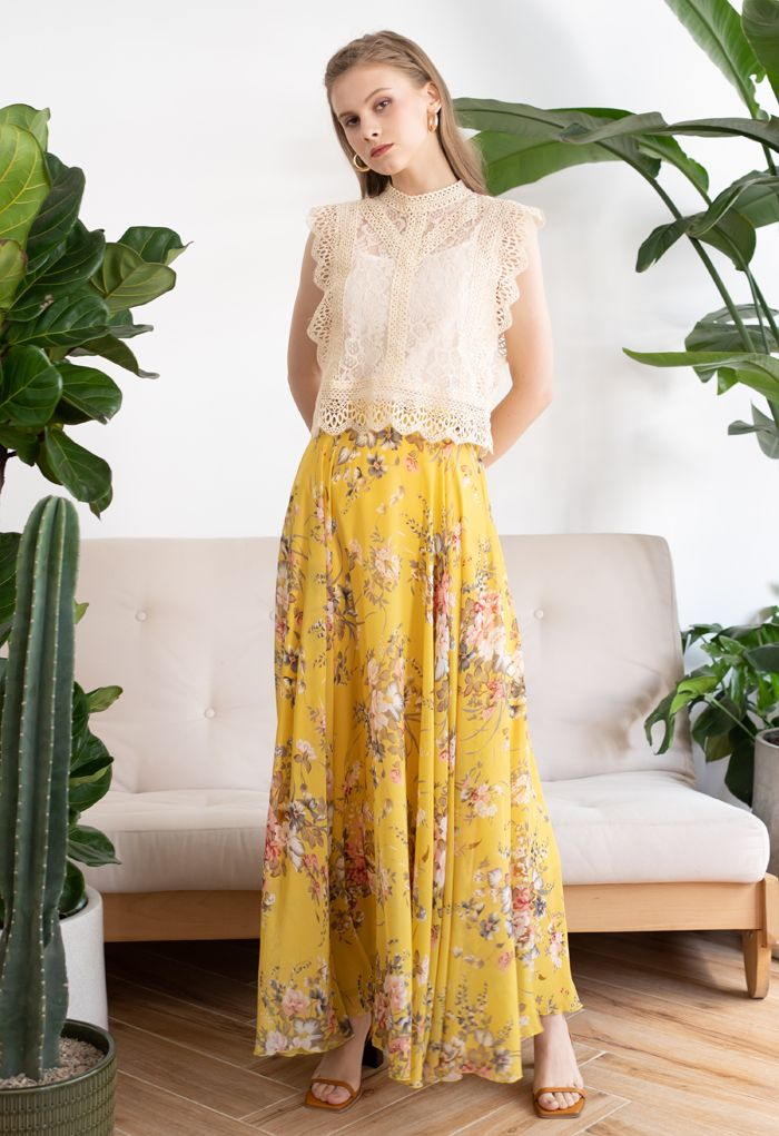 Timeless Favorite Floral Chiffon Maxi Skirt in Yellow