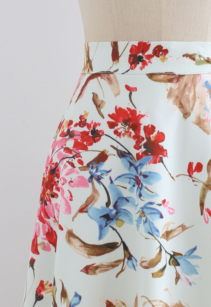 Gorgeous Floral Print A-Line Midi Skirt in Pink