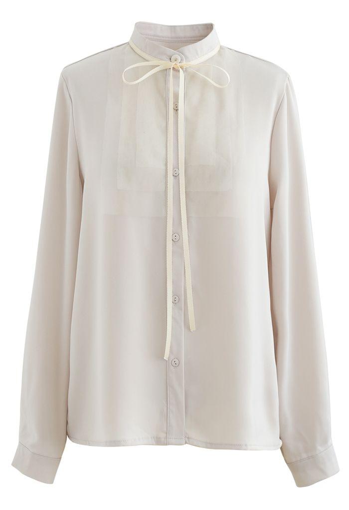 Ribbon Tie Mesh Neck Satin Shirt in Cream