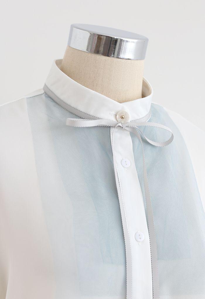 Ribbon Tie Mesh Neck Satin Shirt in White