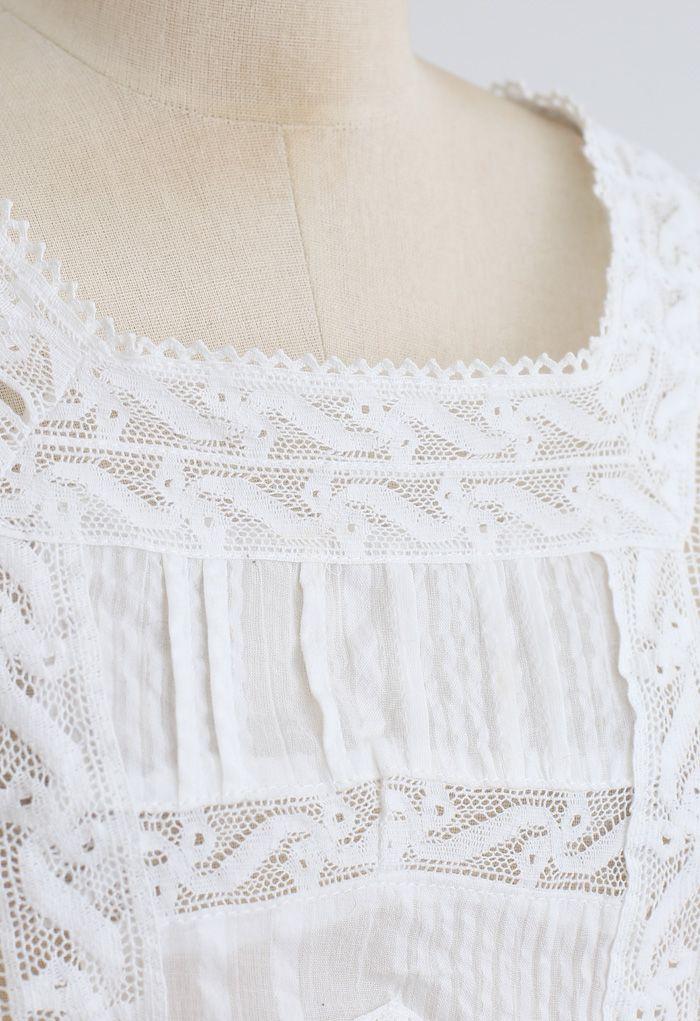 Short Sleeves Ruffle Crochet Tiered Dress