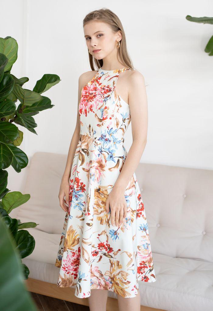 Gorgeous Floral Print Halter Neck Midi Dress in Pink