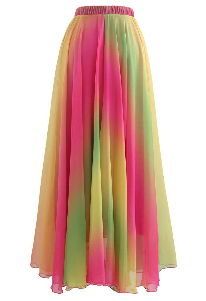 Tie Dye Chiffon Maxi Skirt in Hot Pink