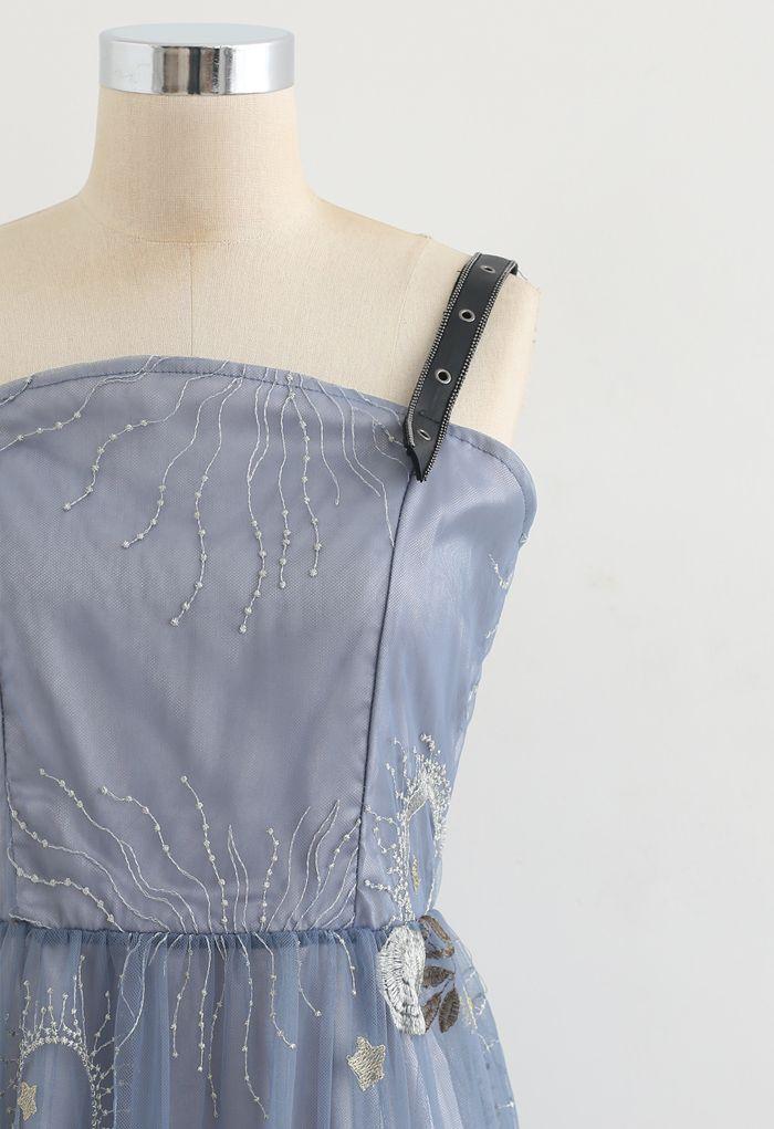 Embroidery Trim Mesh Cami Dress