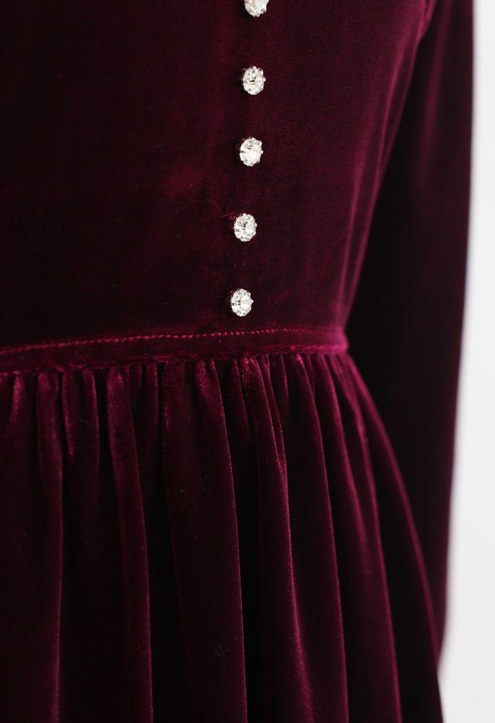 Button Trim V-Neck Ruched Velvet Dress in Wine