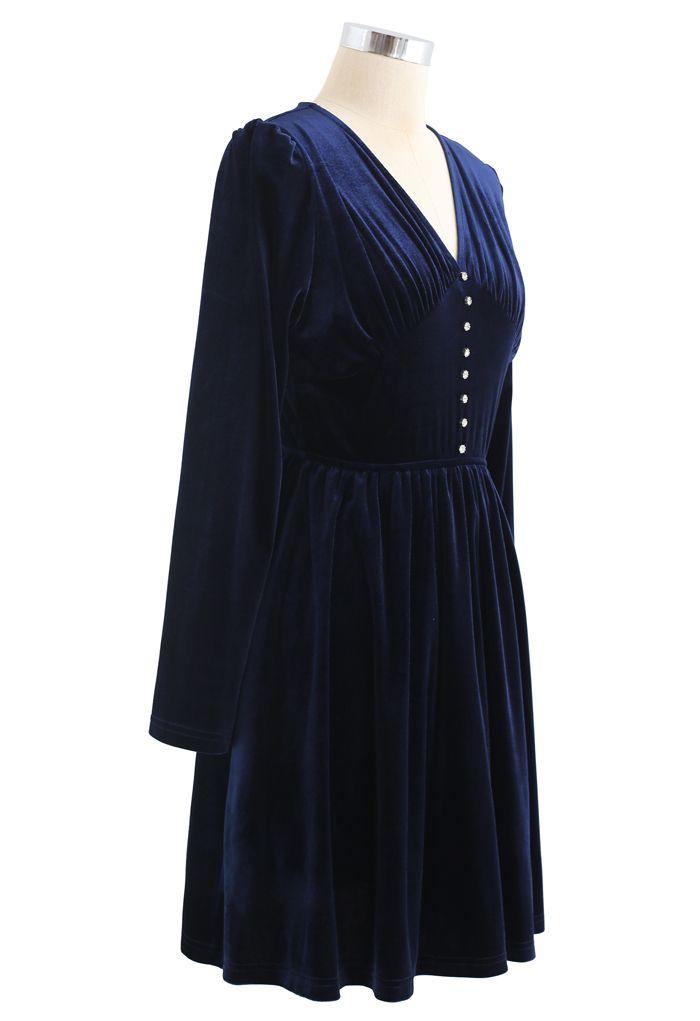 Button Trim V-Neck Ruched Velvet Dress in Navy