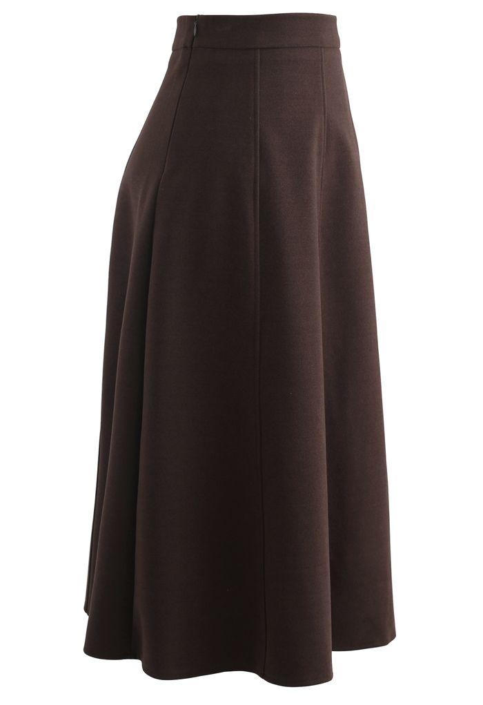 Solid Color Wool-Blend Midi Skirt in Brown
