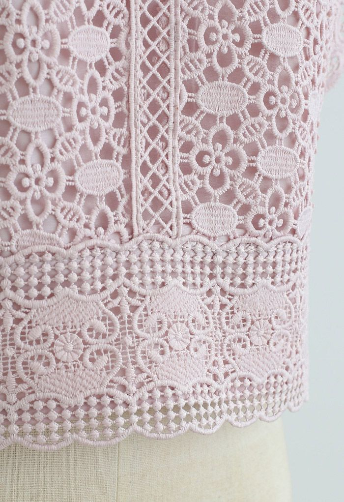 Crochet Lacey Sleeveless Crop Top in Dusty Pink