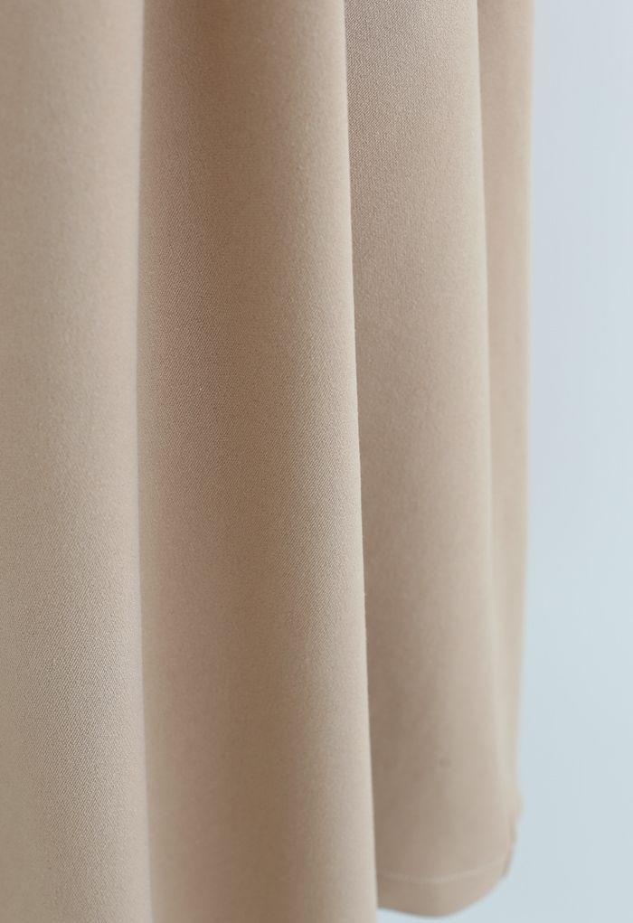 Pleated Flare Midi Skirt in Tan