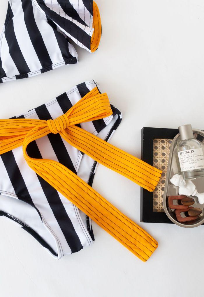 Black and White Stripe Ruffle Bowknot Bikini Set