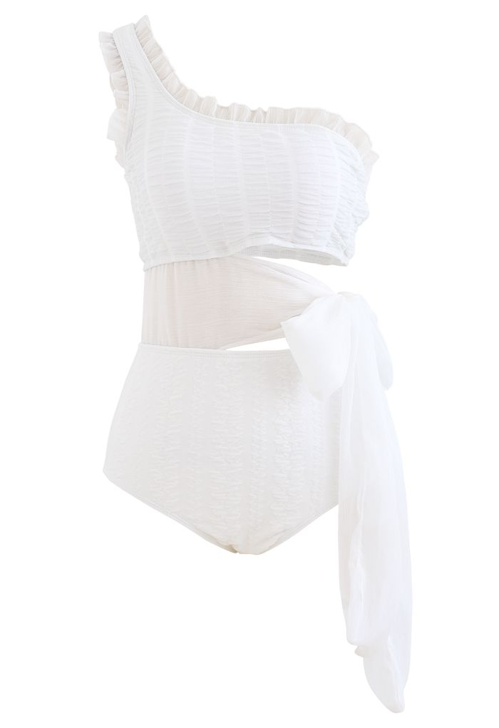 Sheer Bowknot One-Shoulder Cutout Swimsuit