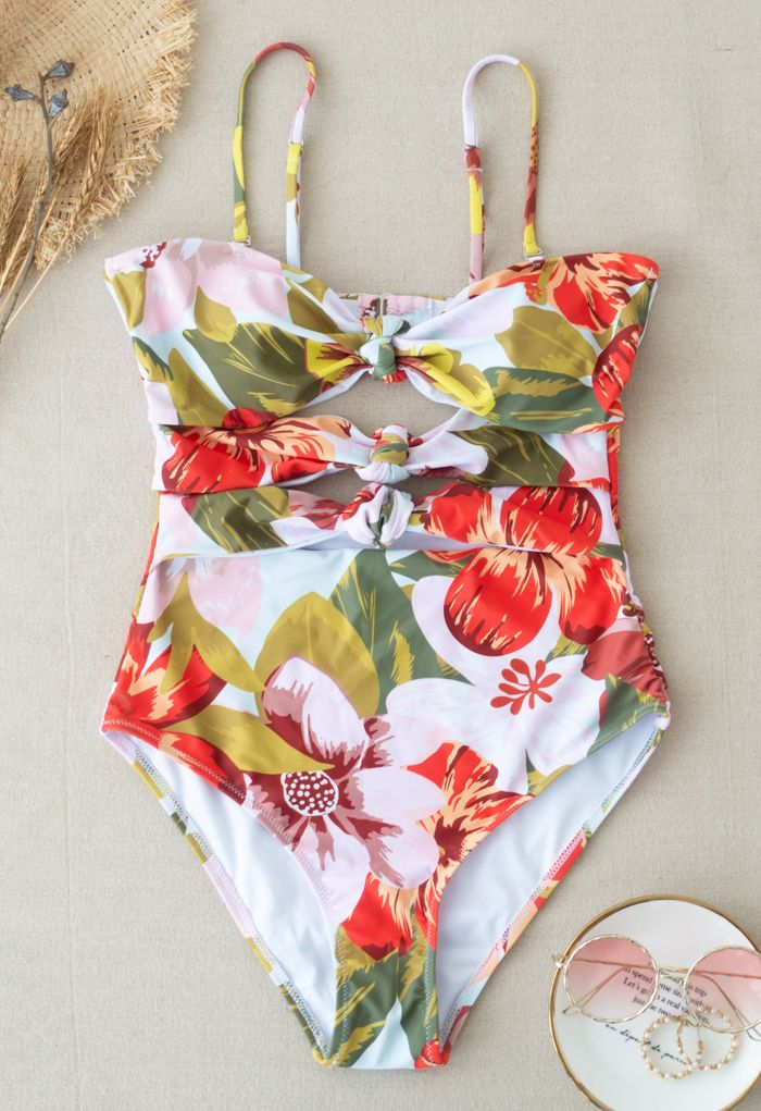 Tropical Print Knotted Cutout Swimsuit
