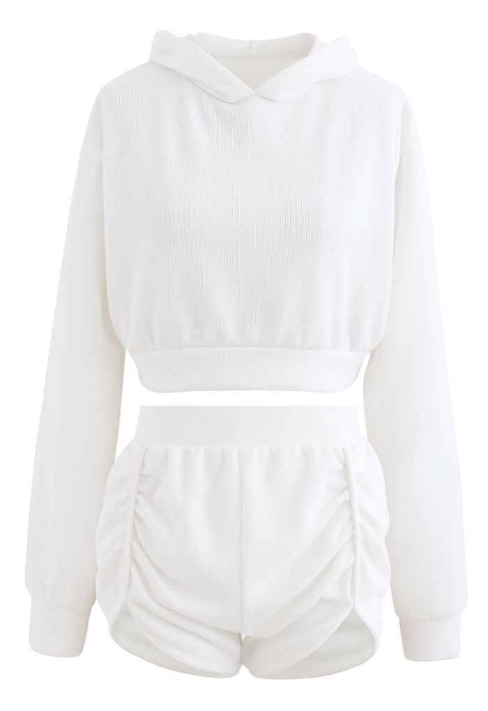 Cotton Blend Crop Hoodie and Shorts Set in White