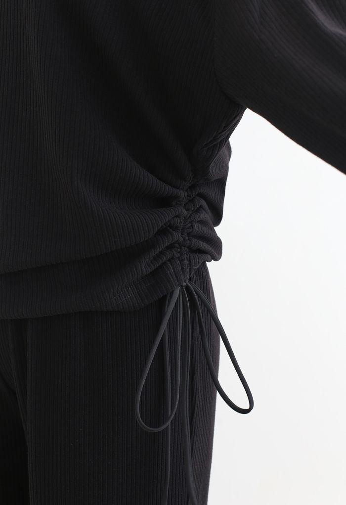 Leisure Drawstring Ribbed Top and Pants Set