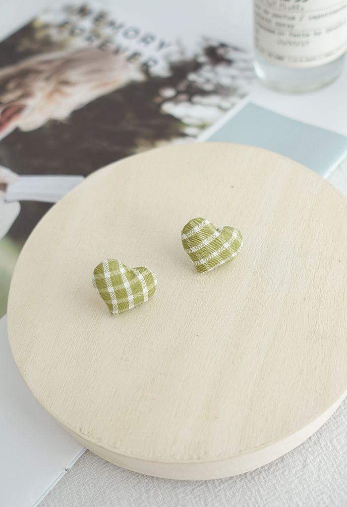 Plaid Padded Heart Stud Earrings
