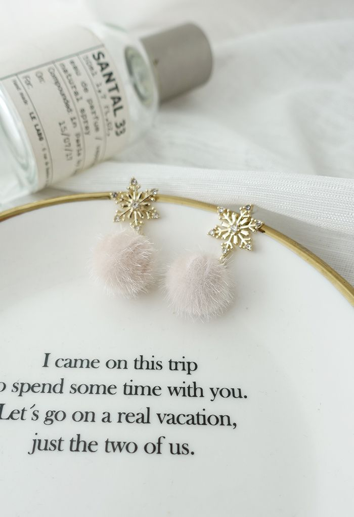 Fuzzy Ball Snowflake Earrings