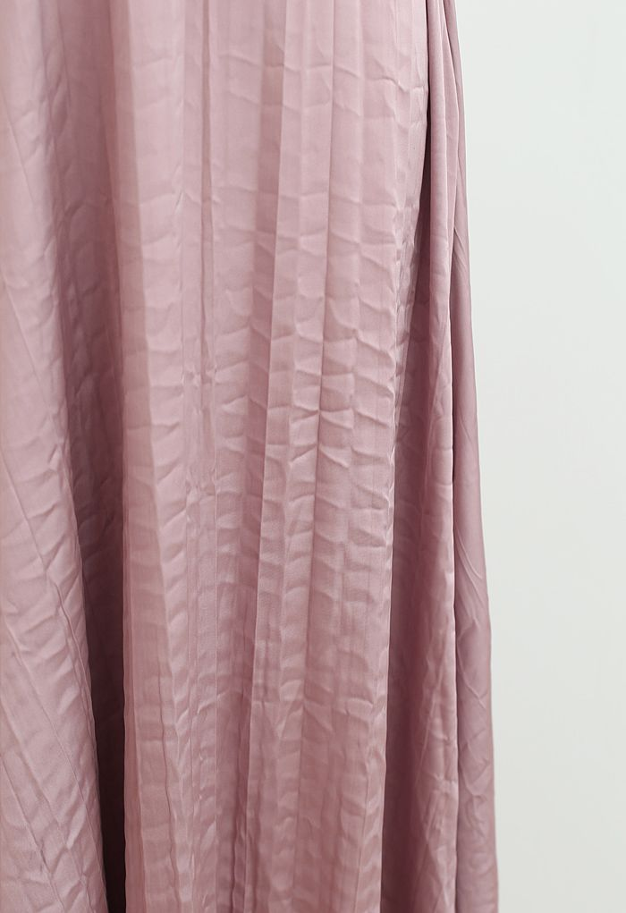 V-Neck Satin Cami Maxi Dress in Dusty Pink