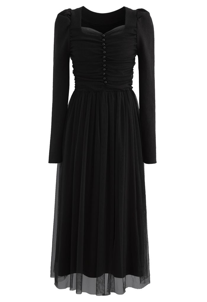Square Neck Shirred Tulle Mesh Rib Knit Dress in Black