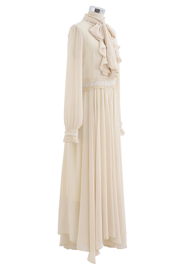 Scarf Neck Ruffle Asymmetric Maxi Dress in Cream