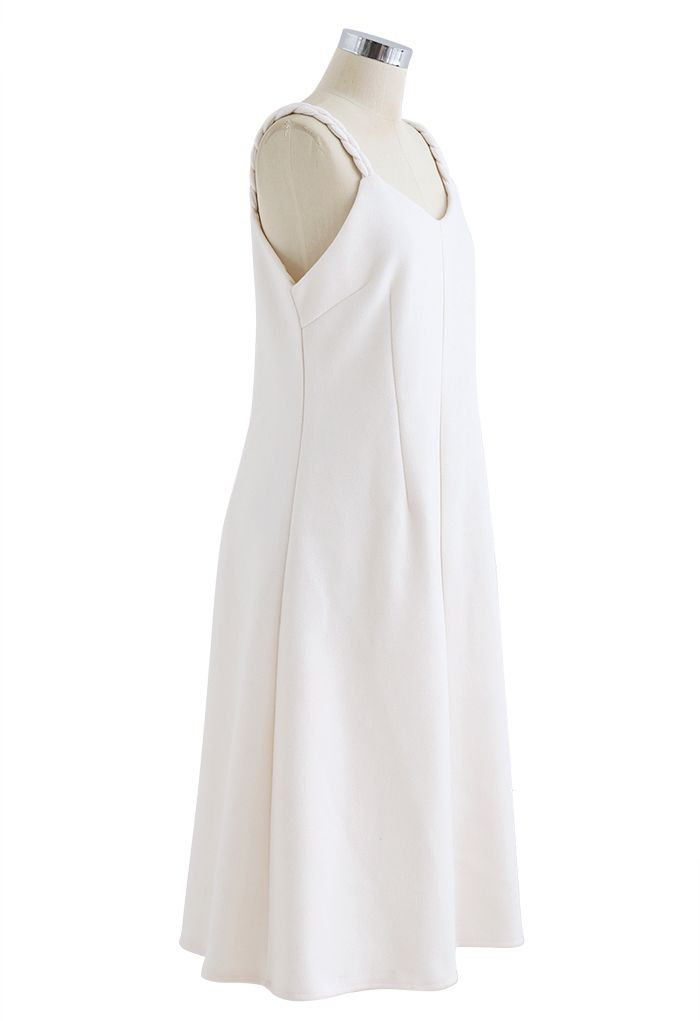 Braid Straps Sweetheart Neck Cami Dress in Ivory