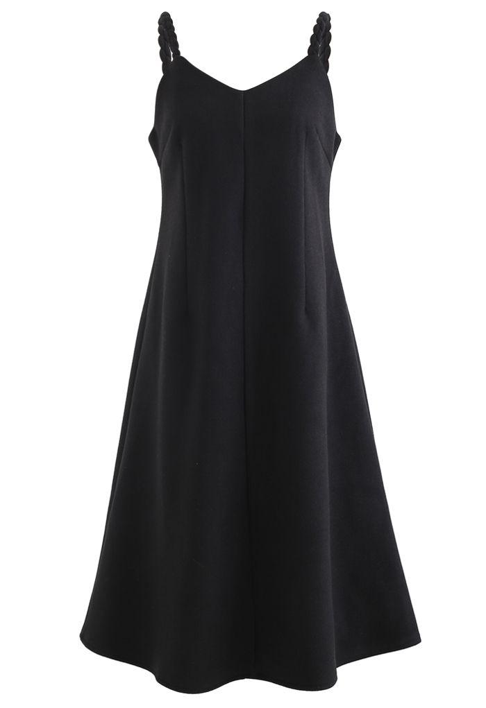 Braid Straps Sweetheart Neck Cami Dress in Black