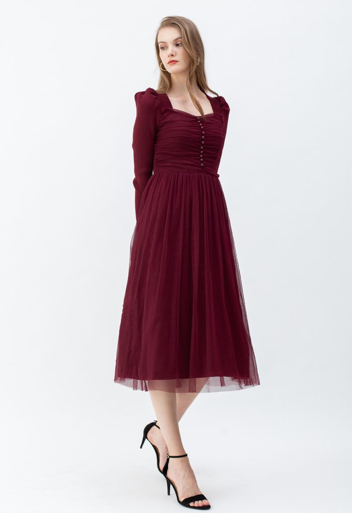 Square Neck Shirred Tulle Mesh Rib Knit Dress in Wine