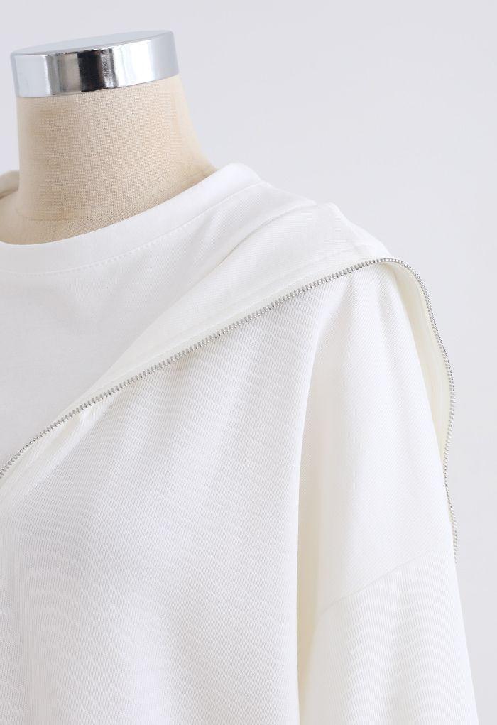 Zipper Front Spliced Sweatshirt in White