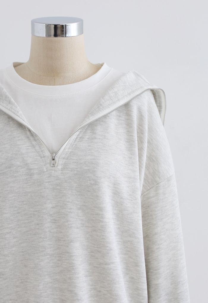 Zipper Front Spliced Sweatshirt in Light Grey
