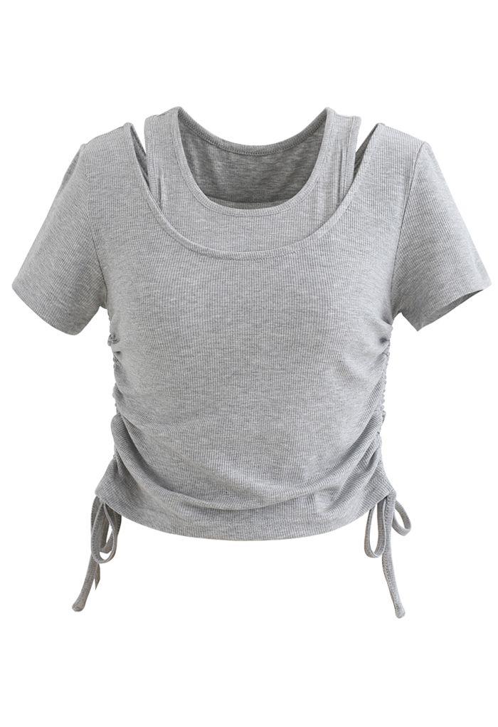 Fake Two-Piece Drawstring Crop Top in Grey