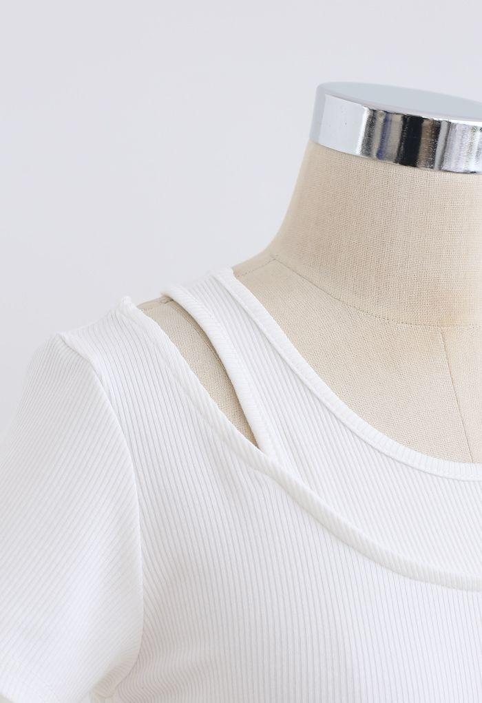 Fake Two-Piece Drawstring Crop Top in White