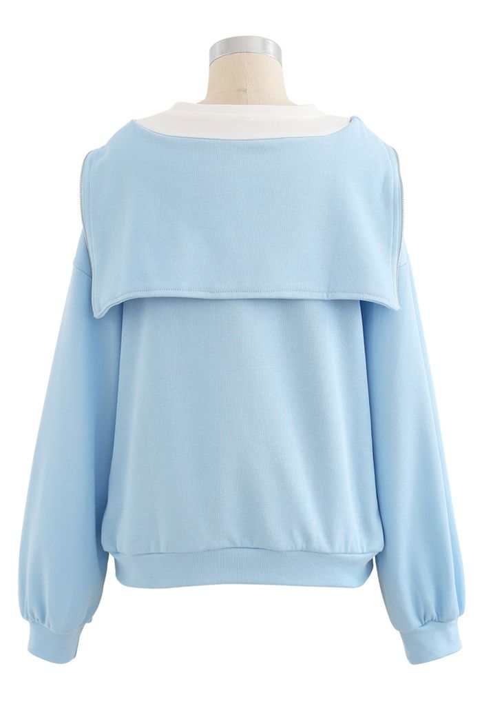 Zipper Front Spliced Sweatshirt in Baby Blue