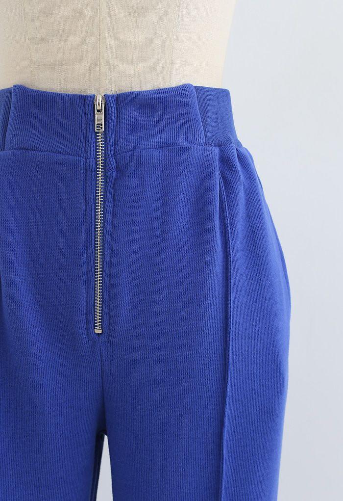 Zip Front Side Pocket Joggers in Blue