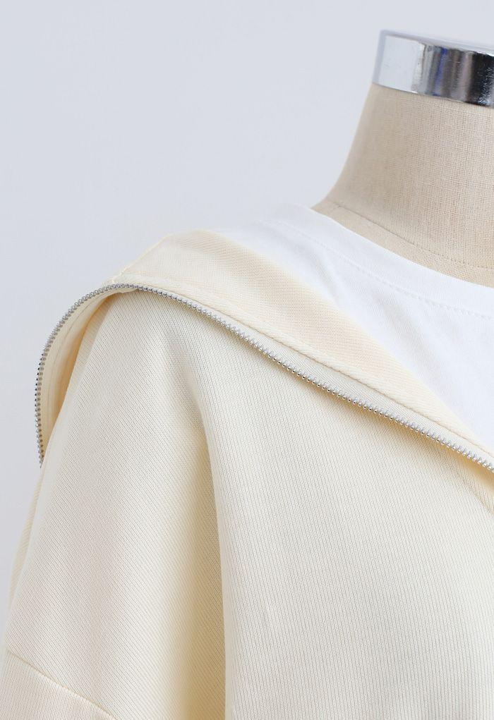 Zipper Front Spliced Sweatshirt in Cream