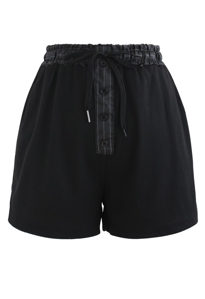 Button Drawstring Crop Top and Shorts Set in Black