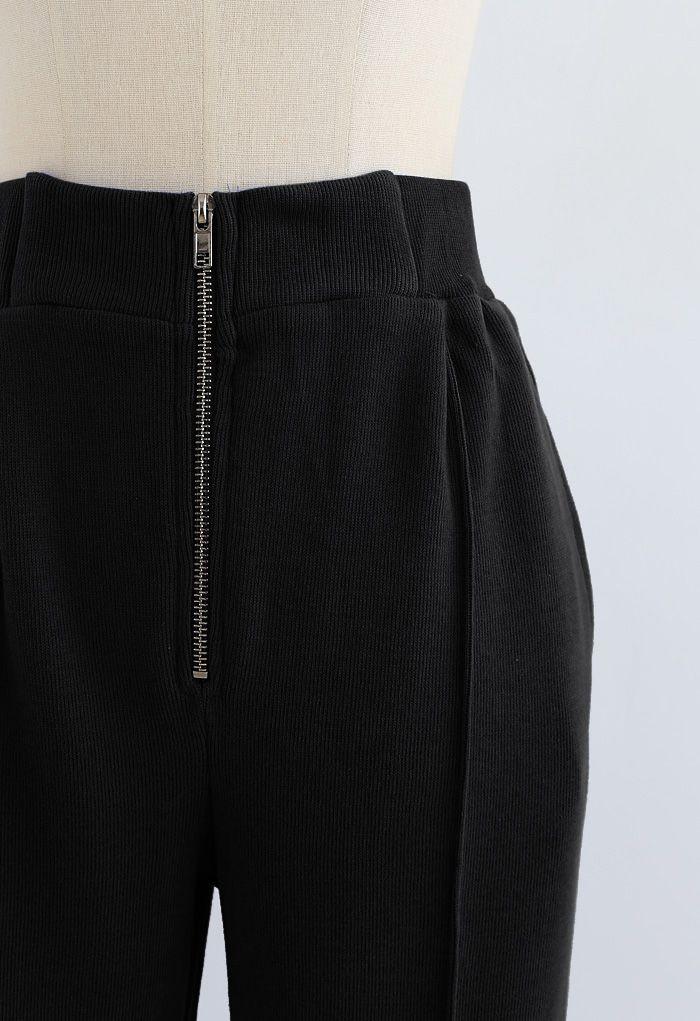 Zip Front Side Pocket Joggers in Black