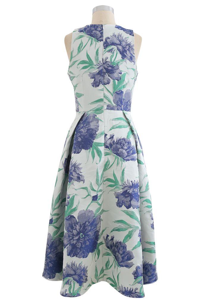 Blue Dahlia Jacquard Waterfall Sleeveless Dress